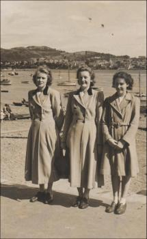 Beti with her sister Marion and their cousin, at Deganwy, all wearing their £5 wool coats,  1950s