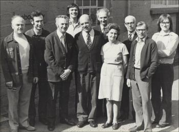 The lab department, with Susie the only woman, 1970s