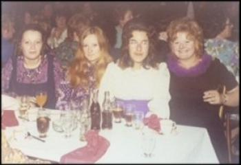 Night out to see Tommy Cooper, Vicky second from left, 1970s