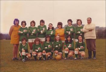 Laura Ashley women's football team, with Olive middle of the back row, 1970s.