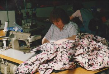 Olive working at Laura Ashley, 1980s