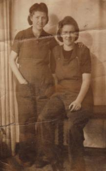 Isabel Thomas's sister Marian Bagshaw (on the right) and her friend Sylvia in Wern Aluminium works, Aberafan.