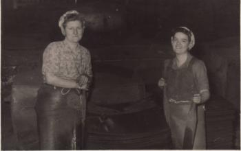 Isabel Thomas's niece Betty (on the left) with her friend at Mansel Tin Plate Works, Aberafan