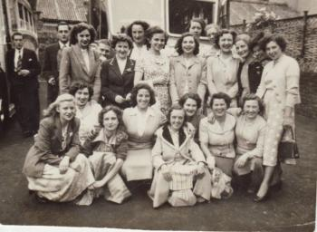 Western Shirt Company workers,  Jeanette Groves standing left, 1940s